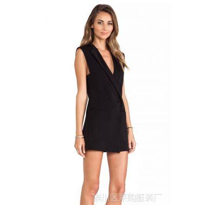 LF1007TP 2015欧美女装新款 实拍复古双排扣修身长款无袖女式马甲
