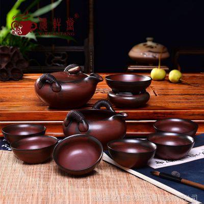 高档复古台湾日式手工粗陶茶具套装柴烧窑变手抓壶泡茶器礼品特价