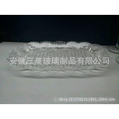 供应现货三美玻璃花卉超大号大果盘 可喷色果盘 出口欧美