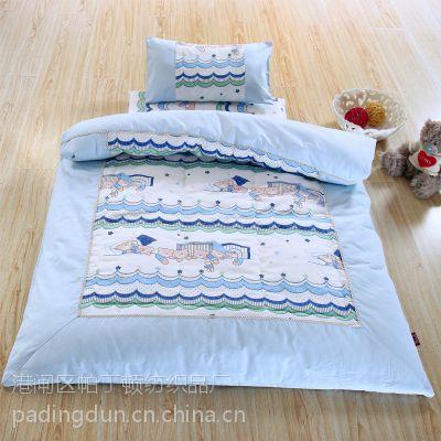 特价批发幼儿园被子三件套儿童床上用品全棉空调夹棉被套被褥厂家