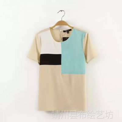 CC-WI 2015夏装新款 休闲撞色几何拼接女式短袖雪纺衫T恤