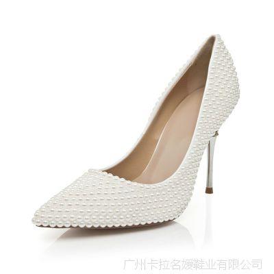 手工定制 欧美潮款珍珠高跟单鞋公主风尖头气质婚宴夜店高跟鞋