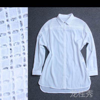 时尚女装 镂空水溶花长袖衬衫 衬衣女 欧洲站 一件代发 Y37398