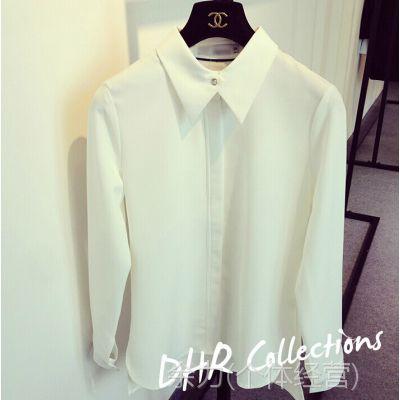 DHR 2014新款韩国代购韩版欧美水钻扣长袖气质加厚雪纺白色衬衫女