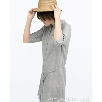 预售zara2015春季韩版宽松长款衬衫显瘦长袖衬衣式连衣裙 BNCH