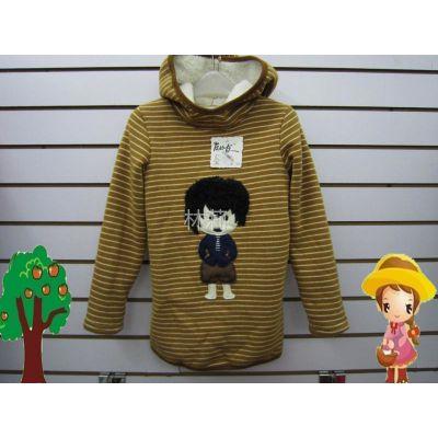 供应冬季新款 韩版 土黄色条纹 黑发小孩 连帽 加绒 加厚 长款打底衫