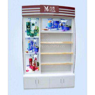 供应商场超市精品木质精品烤漆化妆品货架展柜定做天津峰智货架厂制作