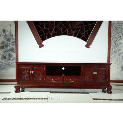 浙江杭州红木家具专卖店 成套家具 1号电视柜红酸枝 港龙红木 古典中式
