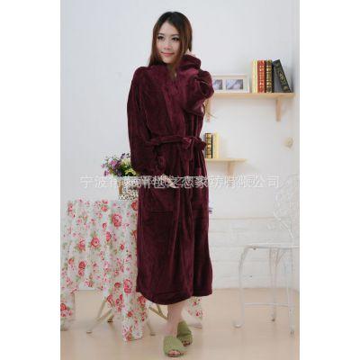 供应厂家特供2012新款女款冬季睡袍 女款长款珊瑚绒浴袍 睡袍