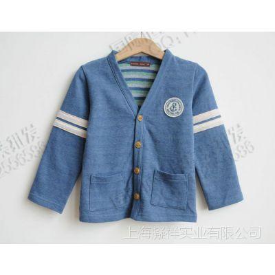 外贸童装儿童男童日本原单性价比高的兰色纯棉秋款开衫 童装批发