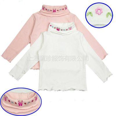 供应02新款儿童秋冬   纯棉打底衫女童高领衫 加厚长袖T恤