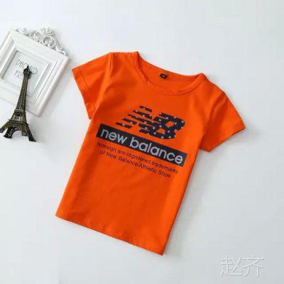 儿童夏季新款短袖T恤 男童字母图案纯色T恤 儿童休闲童装上衣