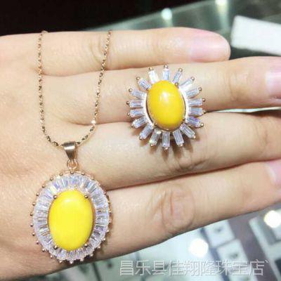 直销批发 天然琥珀蜜蜡s925纯银首饰套装天然宝石