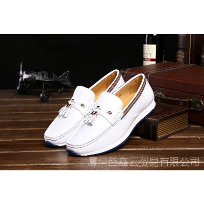 新品男式单鞋套脚圆头白色真皮打造舒适日常休闲工作穿厚底舒适
