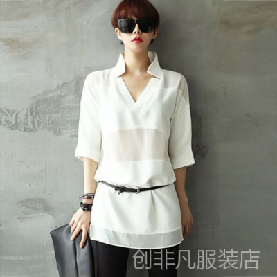 2015五分袖直筒雪纺衫女中长款白色衬衫插肩袖宽松衬衣女