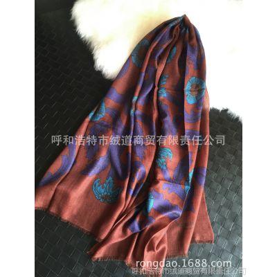 处理库存B新款 欧美印花羊绒 女士花藤遮阳 空调大 羊绒围巾披肩