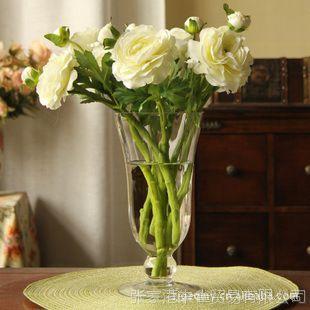 美式乡村 假花仿真花  家居装饰花套装  高脚玻璃花瓶+8支曼陀罗