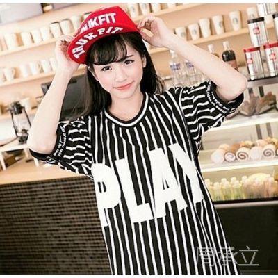 韩版女装代理批发潮时尚气质大字母印花logo韩版竖条纹短袖T恤女