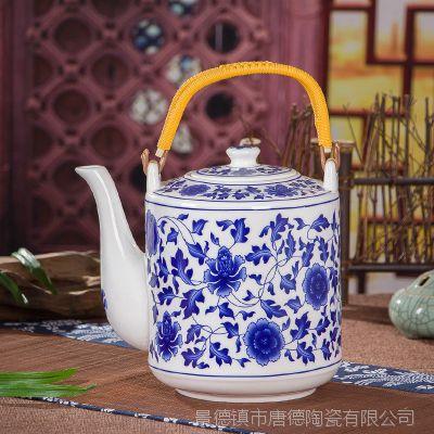 景德镇陶瓷茶壶 提梁大茶壶 青花开水壶2.1L容量 可配套茶杯