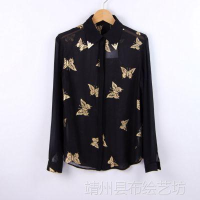 ET772春夏新品 韩版修身印花蝴蝶金属领雪纺长袖衬衫 女