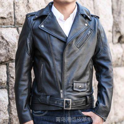 一件代发外贸原单男式休闲真皮牛皮皮衣夹克时尚 休闲机车服外套