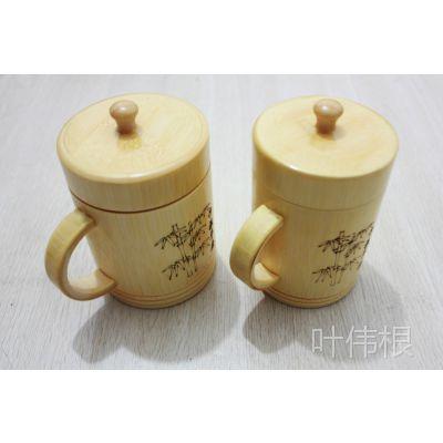 厂家直销 竹工艺品/竹制品/竹制茶杯/带盖有柄竹茶杯