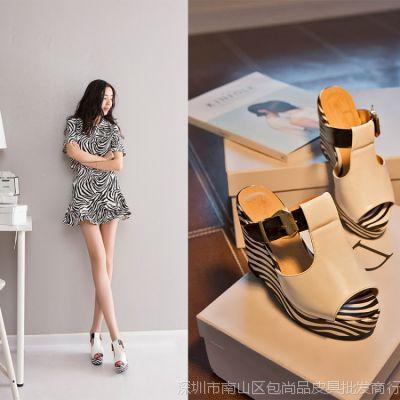 新款2015欧美外贸潮女鞋 大码斑马纹坡跟凉鞋木纹水台拖鞋 高跟鞋