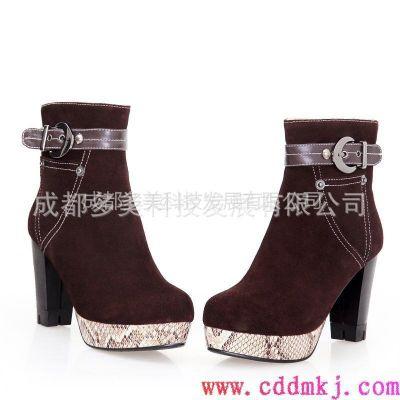 供应2012 冬季新款 短靴 通拉链 圆头 粗跟 磨砂 磨橡胶 女鞋 靴子