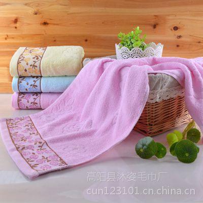 厂家直销纯棉回礼广告面巾提花素色毛巾批发