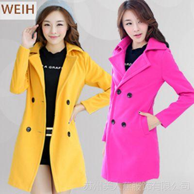 秋冬新款女装大衣2015韩版毛呢外套修身显瘦中长款风衣女呢子大衣