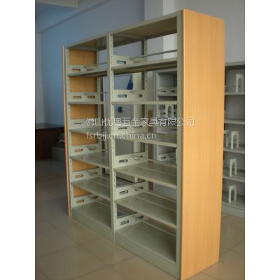 佛山厂家销学校钢木结合双面书架 实体店书店多层全钢制双面双柱书架层架现货批发