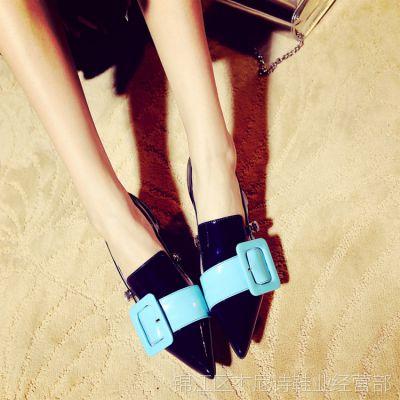 美国代购欧洲街头超级爆款女鞋中跟方跟尖头真皮后扣带拼凉鞋女