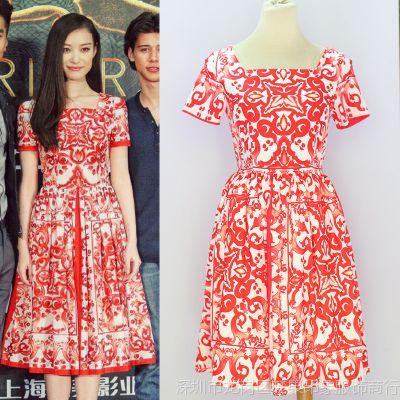 实拍  高级定制倪妮明星同款欧美红色复古印花气质修身连衣裙