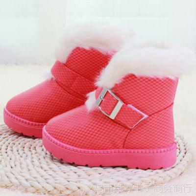 儿童冬鞋冬季加绒防水 新款女童雪地靴 女皮毛一体雪地靴子批发
