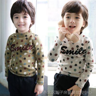 外贸韩版童装上衣 2015春款拉架棉笑脸高领衫 男女儿童T恤打底衫