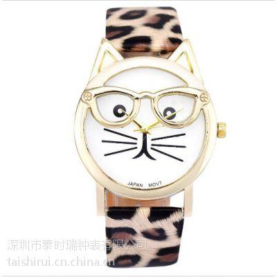 礼品手表定制卡通大眼镜表框女士石英潮流时尚手表