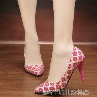 欧洲站OL女鞋MB高跟鞋拼色夜店性感女单鞋婚鞋浅口尖头细跟工作鞋