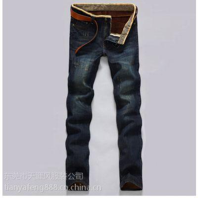 库存韩版杂款直筒男装牛仔裤 男式休闲裤外贸地摊男士长牛仔裤