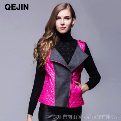 QEJIN女装外套批发冬季短款毛呢外套女新款显瘦拼接小外套上衣