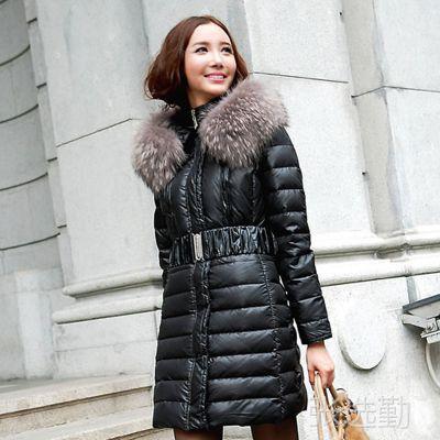 爆欧美时装品牌高档女装羽绒服 超大貉子毛领中长款女士上衣外套