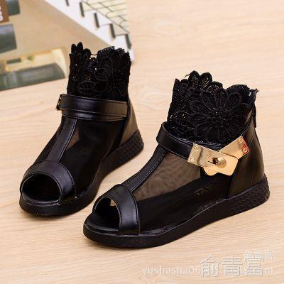 2015夏季新款童鞋批发女童凉鞋时尚公主鞋韩版可爱蕾丝鱼嘴鞋爆款