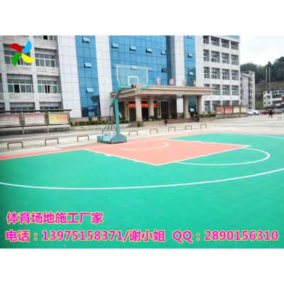 岳阳公园球场地胶铺设技术|君山小区篮球场地施工案例