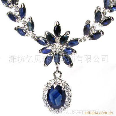 供应925银天然特A蓝宝石项链链牌珠宝首饰手工加工SJ0001S 韩版