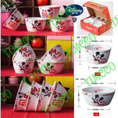 供应迪士尼授权 雅诚德正品 米奇韩式个性陶瓷餐具6件8件套碗 可爱米奇卡通饭碗面碗