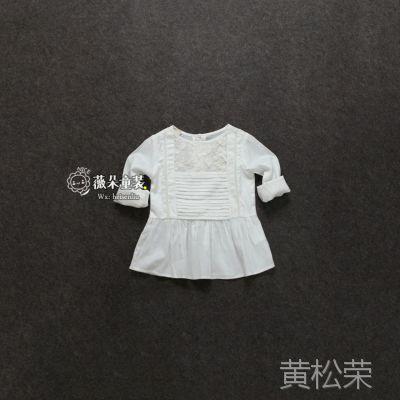 外贸原单童装批发 女童长袖衬衣 白色韩版春秋新款衬衫 女孩儿