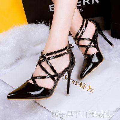 0528-1欧美时尚性感细跟尖头交叉一字扣罗马高跟鞋夜店镂空单鞋
