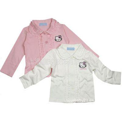 供应2012新款秋季童装 女宝宝打底衫翻领衬衫 KT猫花边长袖衬衣