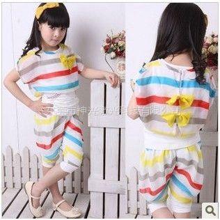 供应2012夏装新款韩版流行彩虹条女童套装 五分垮裤