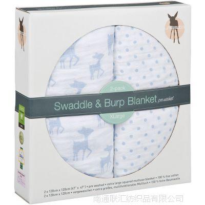 外贸欧洲原单有机棉 纯棉婴儿纱布包巾 襁褓浴巾床单盖毯 礼盒