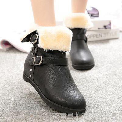 磨砂皮平底女靴低跟中筒靴套筒休闲保暖女鞋子#J艾曼丽-8011-A37